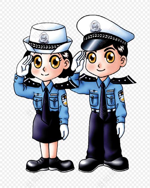 正在敬礼的两个警察矢量图素材