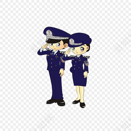 敬礼的警察卡通人物免抠图素材