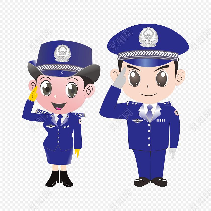 免抠图敬礼的男女警察矢量素材