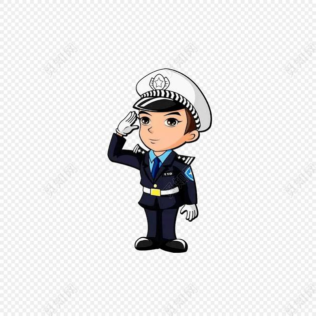敬礼的小警察卡通免抠图素材