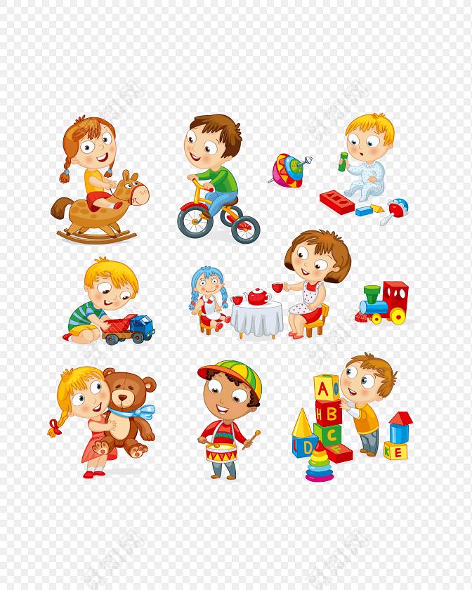 玩玩具的卡通小孩