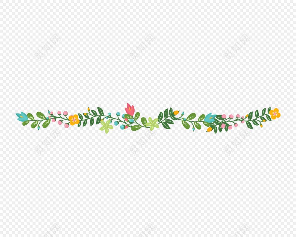 卡通树叶花朵分割线图片素材免费下载_觅知网