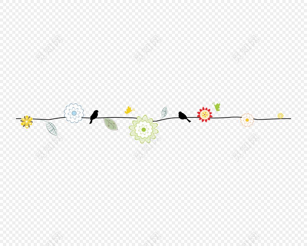 卡通手绘树枝分割线