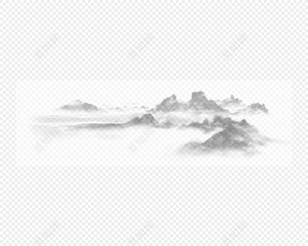 免费下载png png素材朦胧远山素材标签:中国风 免抠素材 手绘 水墨