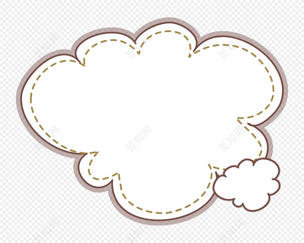 卡通云朵外框花边边框素材