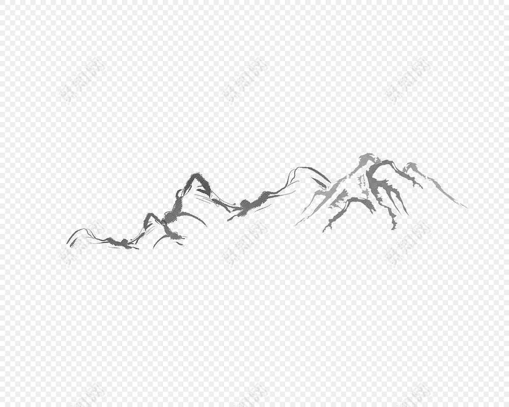 中国国画山山水免抠图素材
