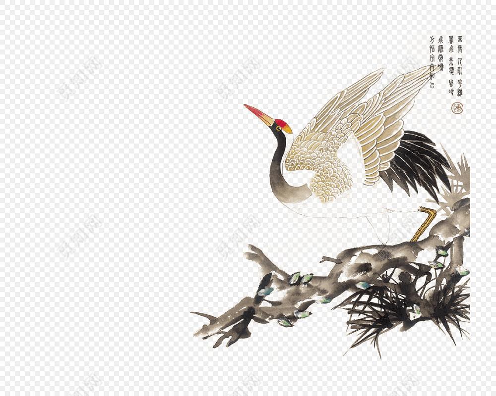 png素材松枝上的仙鹤素材标签:免抠素材 手绘 彩色水墨画 水彩画 风景