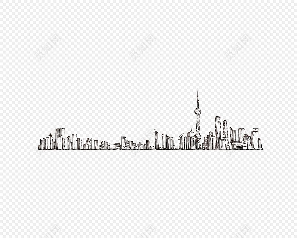 手绘城市建筑背景线条元素