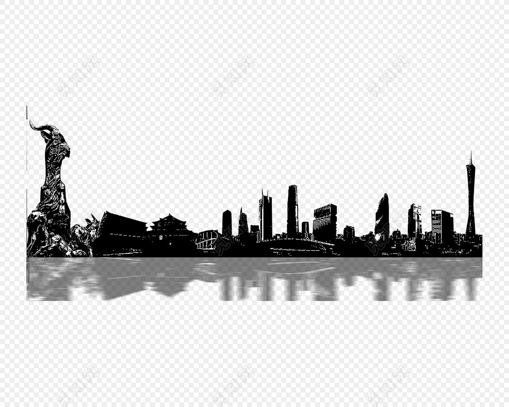 黑白城市建筑剪影倒影素材