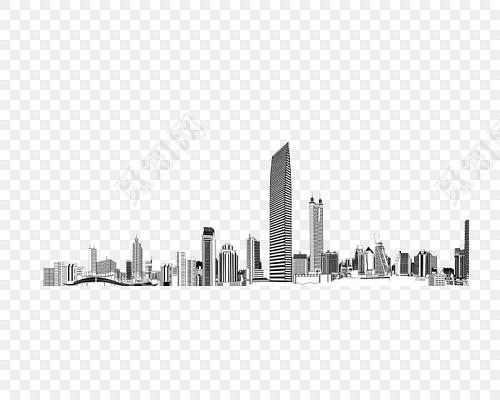 手绘黑白城市建筑矢量素材