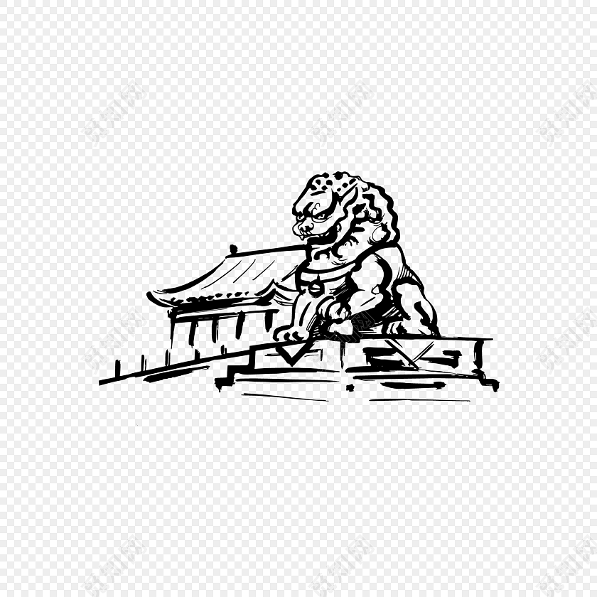 中国风手绘城楼石狮建筑矢量元素