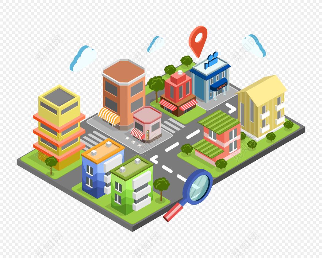 卡通城市立体建筑插画矢量素材免费下载_png素材_觅