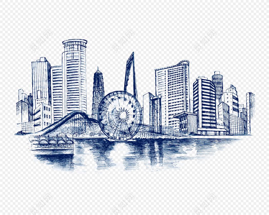 png素材 手绘城市建筑风景素描插画标签:城市剪影 免抠素材 手绘 素描