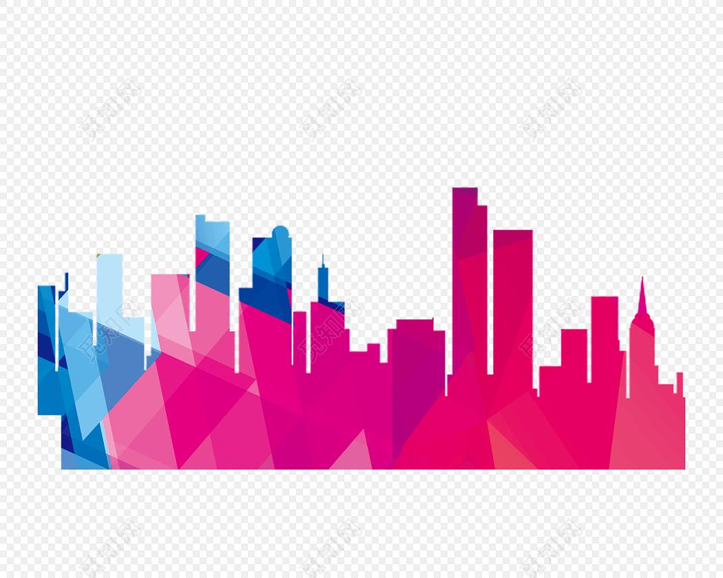 彩色渐变城市高楼建筑剪影免费下载_png素材_觅知网