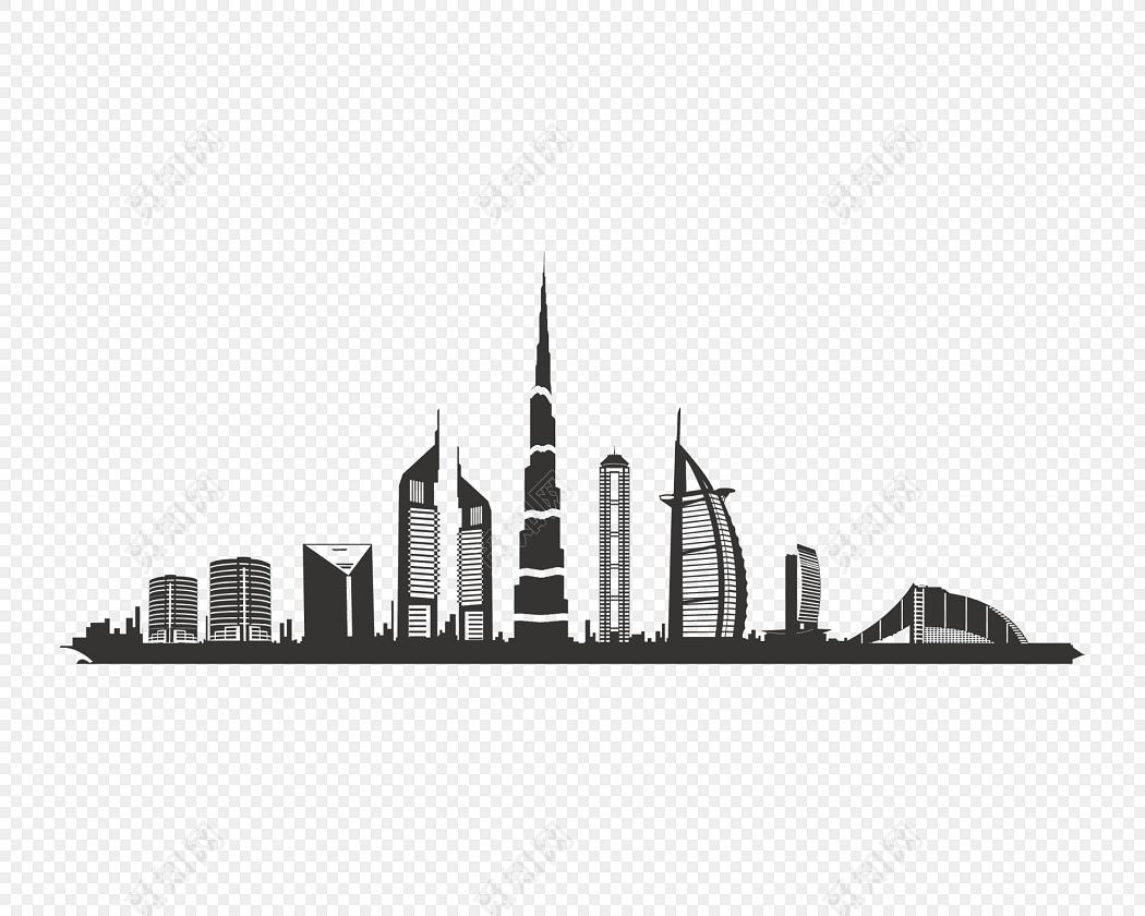 黑白扁平城市建筑矢量插画