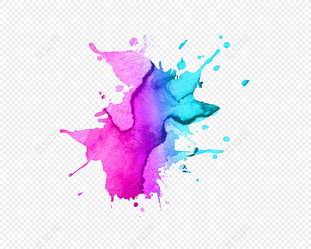 矢量彩色水彩墨迹水彩元素元素笔刷素材