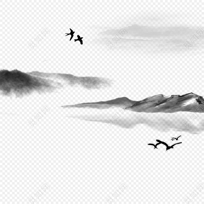 湖光水色水墨山水风景画素材
