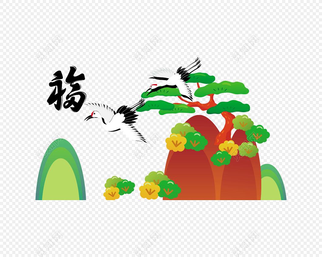 手绘彩色白鹤装饰画素材