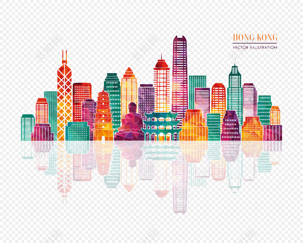 香港旅游景点卡通插画免费下载_png素材_觅知网