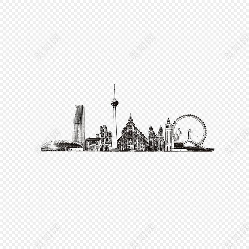 手绘城市建筑旅游景点黑白插画