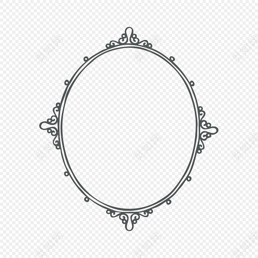 圆形花纹边框手账装饰设计素材