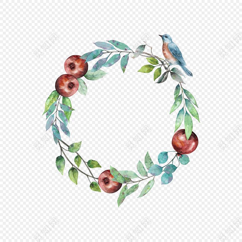 植物小鸟果实圆环矢量素材