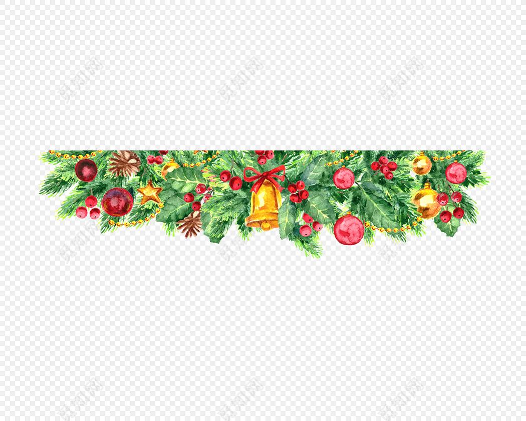手绘水彩圣诞边框素材