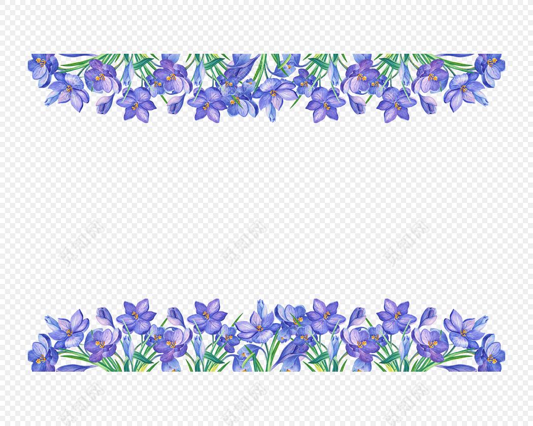 水彩手绘植物花环花边透明边框矢量素材