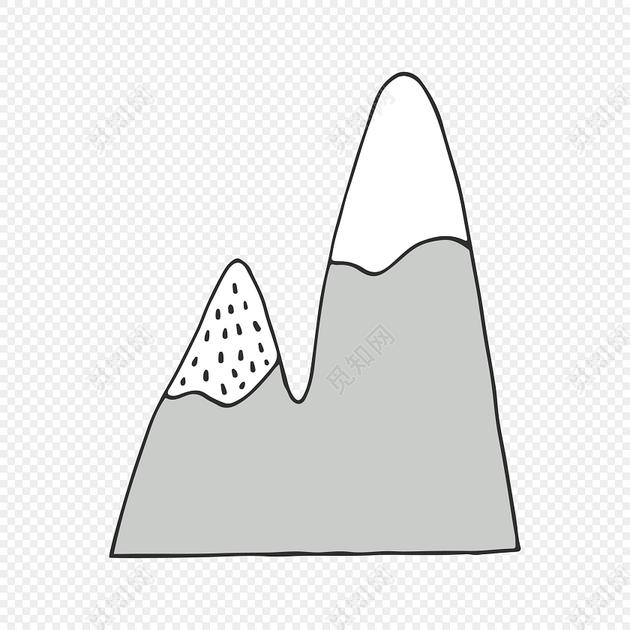 雪山简笔画图片大全