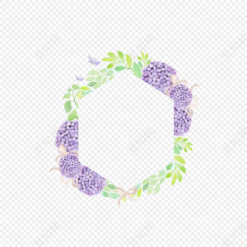 手绘水彩花朵六边形边框素材