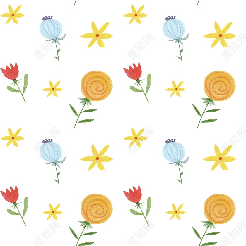 彩色手绘花卉包装纸图案