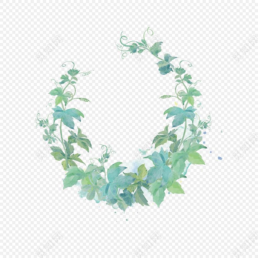 水彩手绘叶子装饰边框素材
