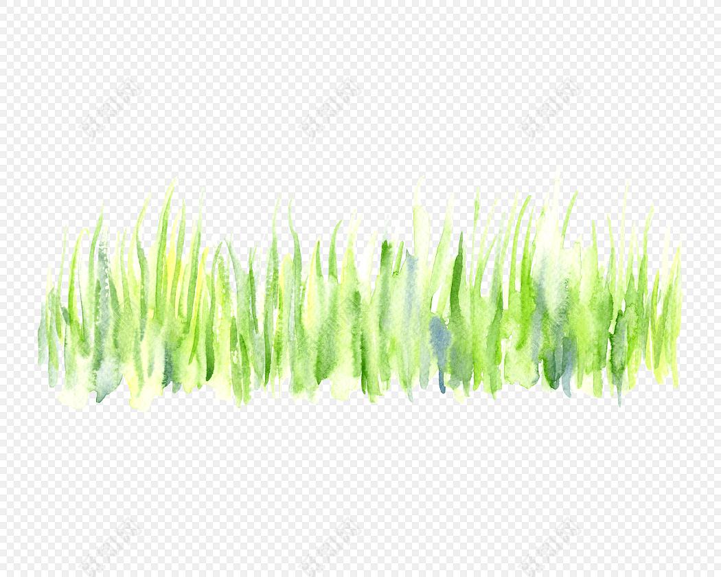 手绘小清新淡绿色草丛设计素材