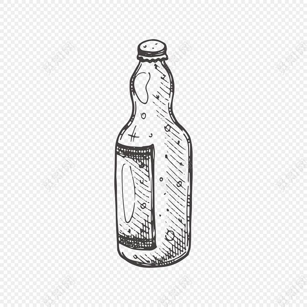 黑白手绘啤酒瓶设计素材
