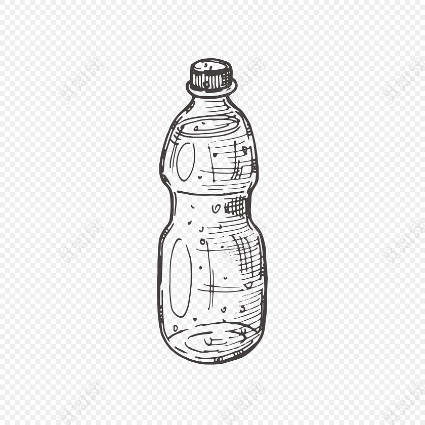 手绘黑白矿泉水瓶设计素材
