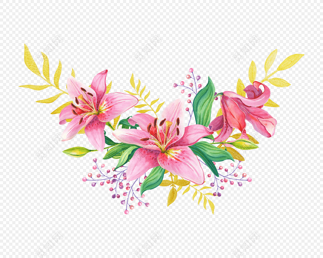 手绘清新水彩百合花设计素材