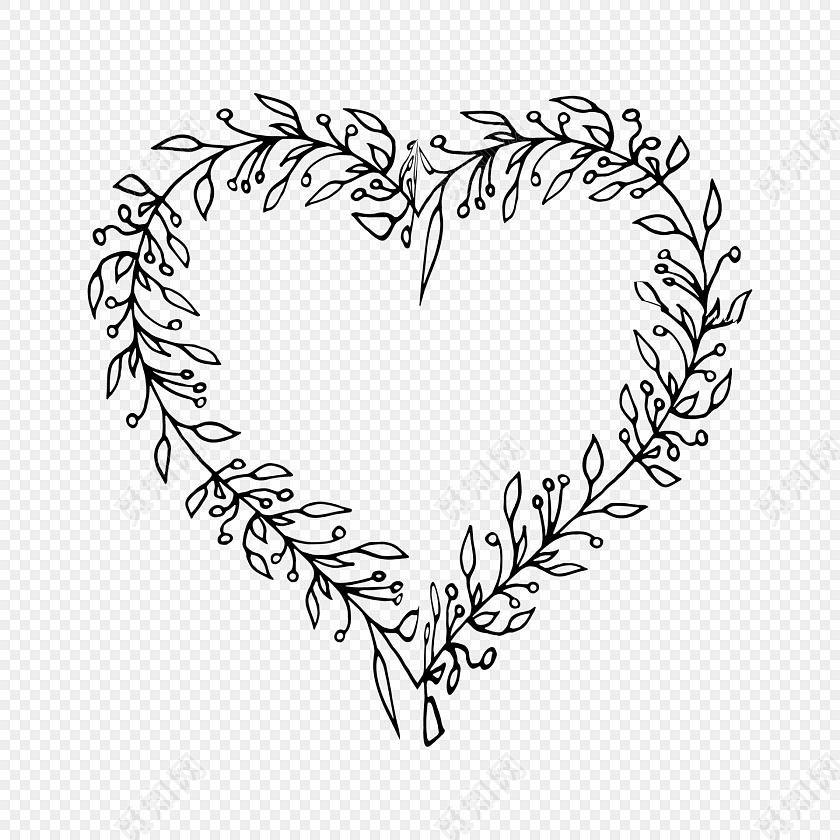 手绘黑白线稿爱心装饰素材