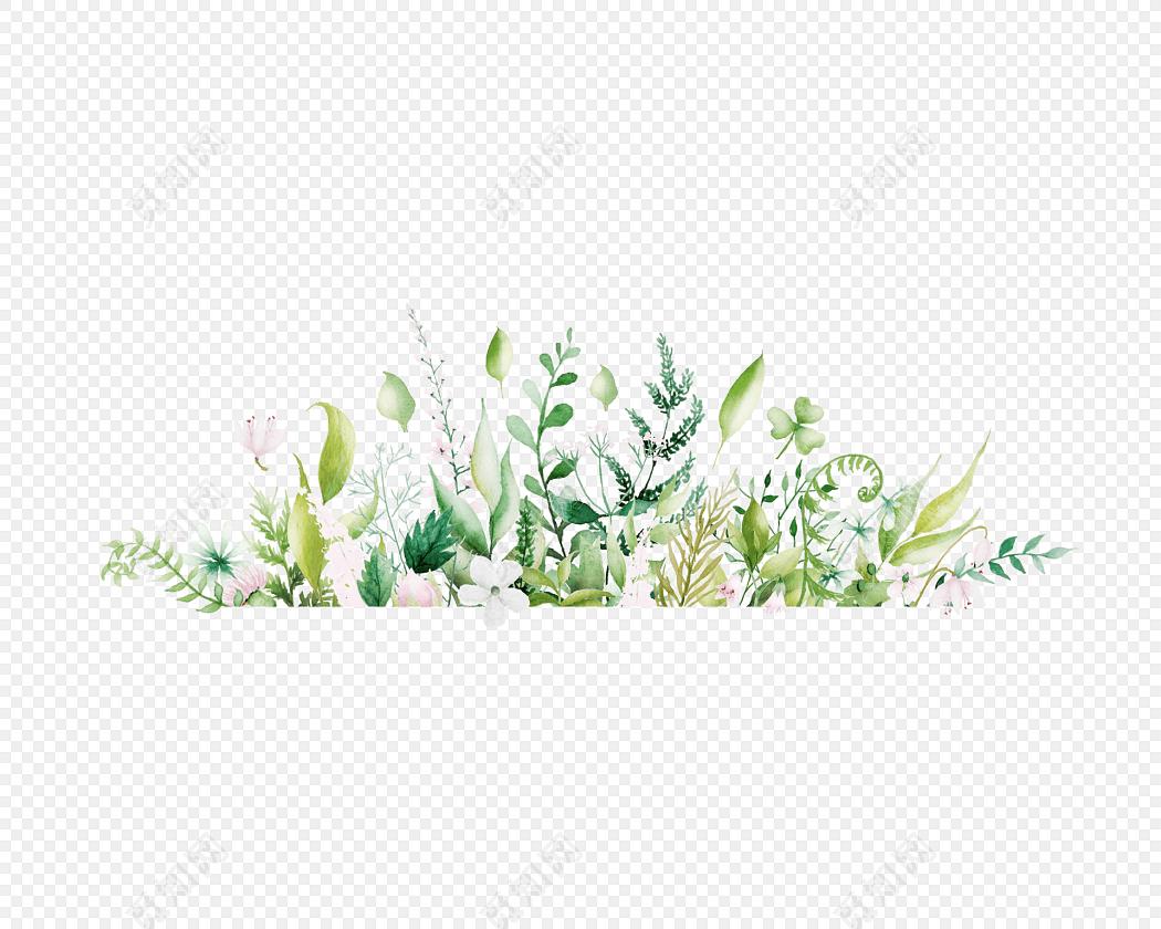 手绘水彩树叶边框素材
