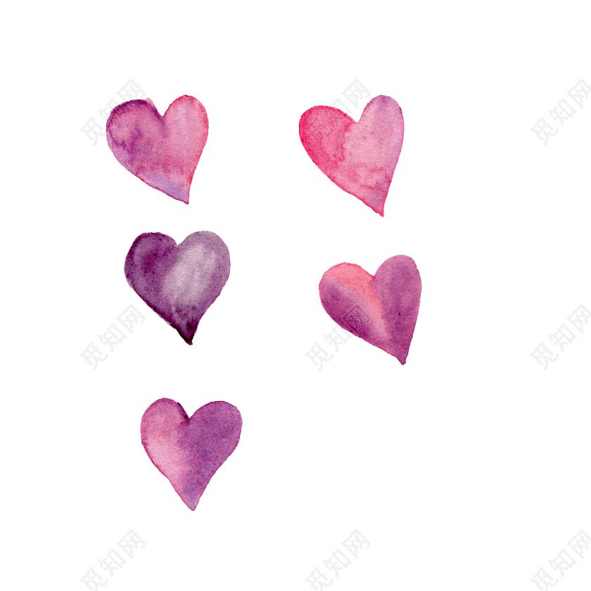 手绘水彩爱心装饰素材