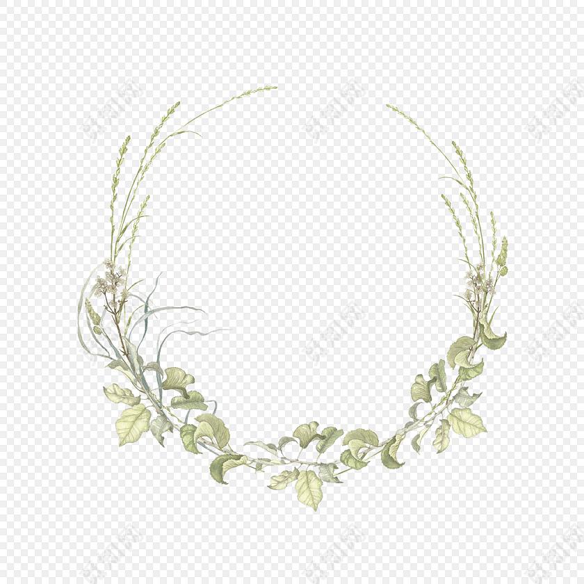 手绘水彩树叶花环边框素材