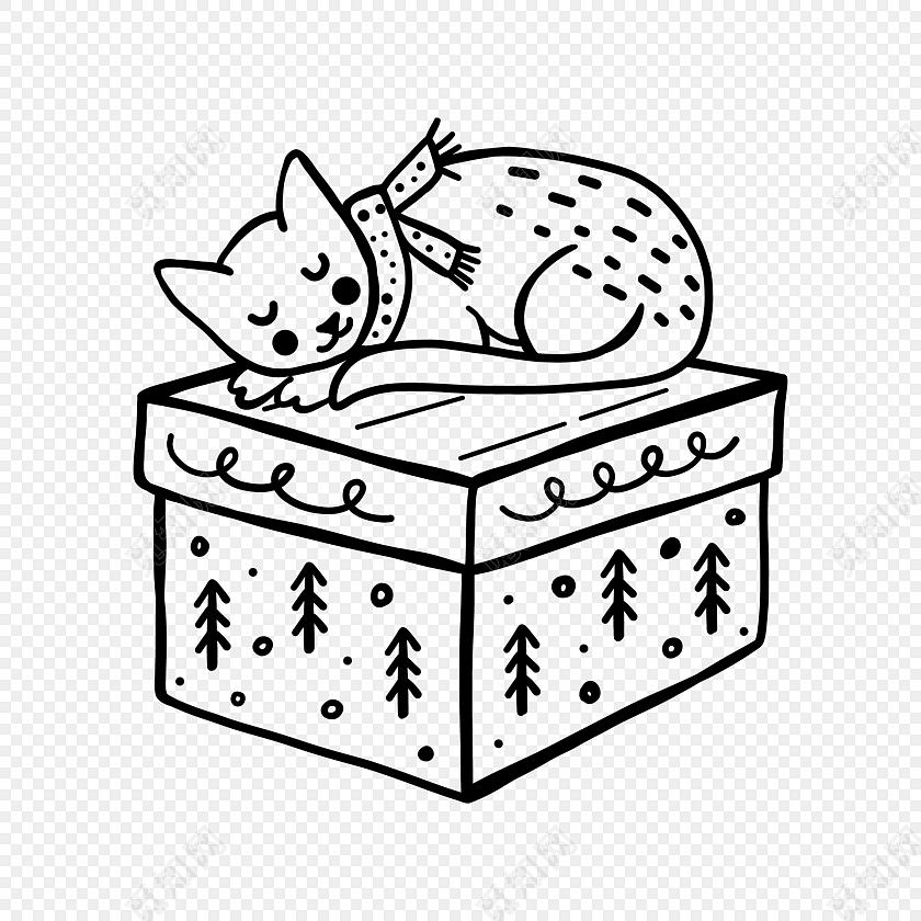 卡通简笔画小猫礼盒素材