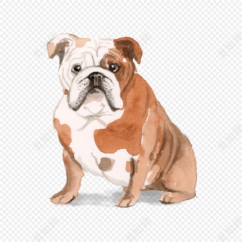 矢量手绘水彩狗狗素材