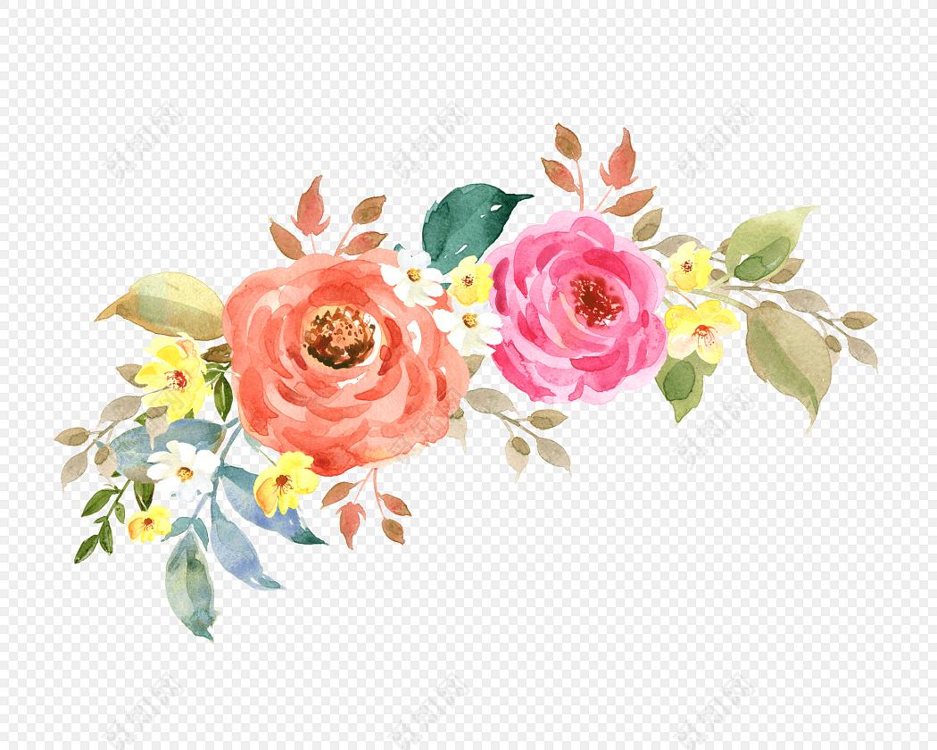 矢量清新手绘水彩花束素材