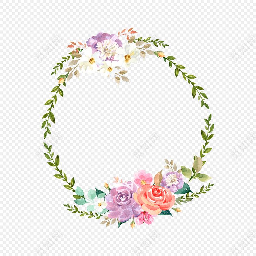 矢量清新手绘水彩花环素材
