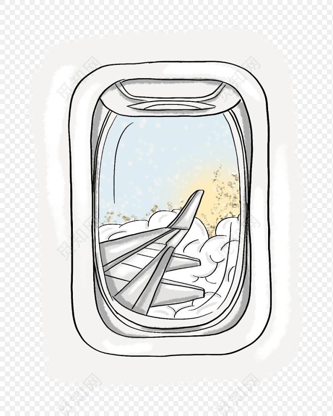 手绘水彩卡通飞机素材