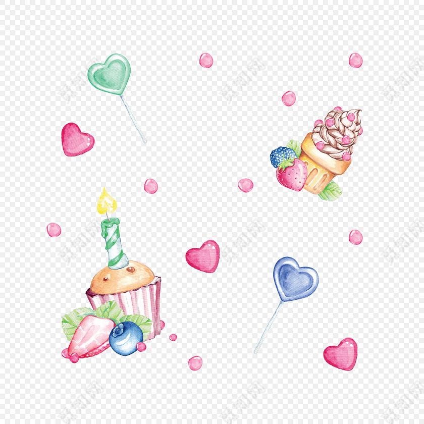 糖果色手绘小清新水果冰淇淋蛋糕免抠素材