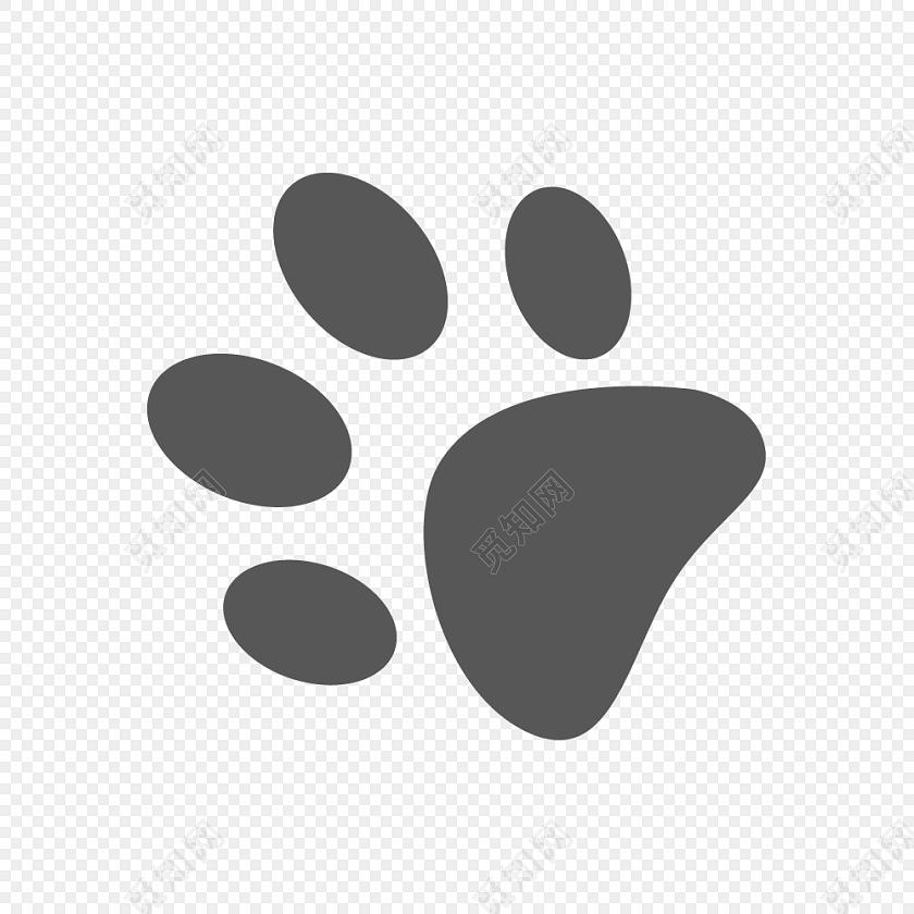 卡通黑色猫爪印设计矢量图