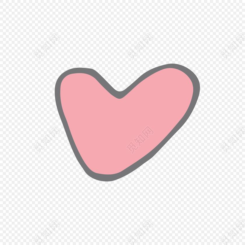 手绘卡通粉色爱心设计素材