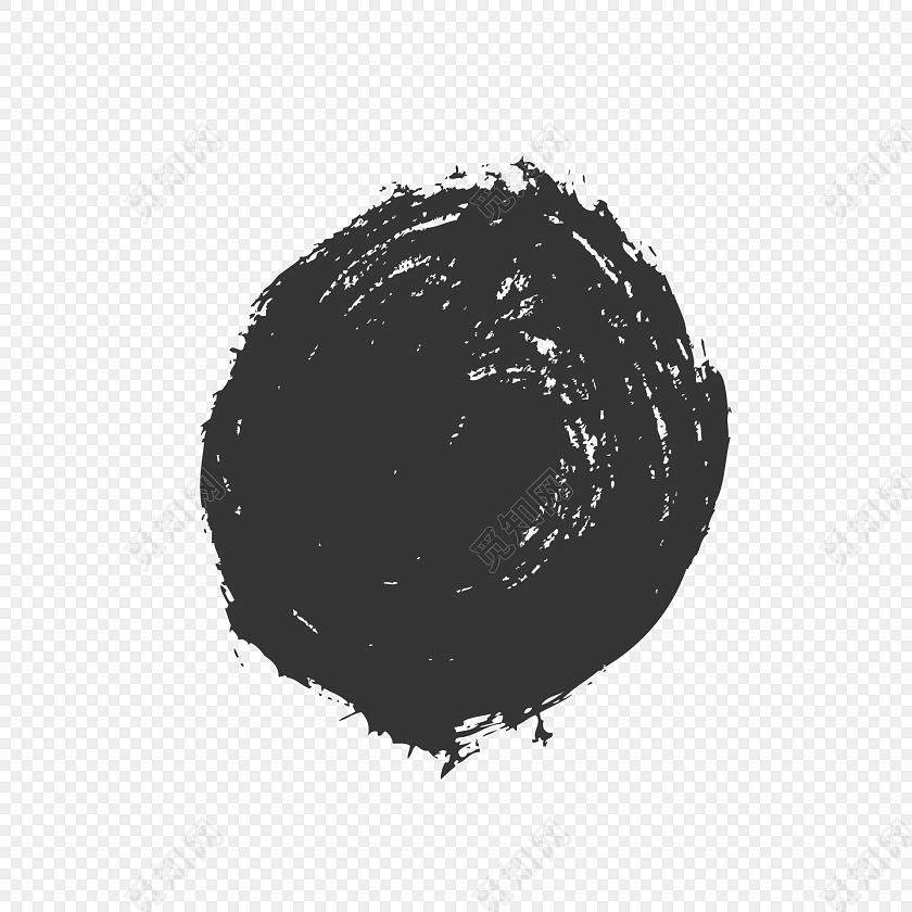 圆形墨迹笔刷矢量图