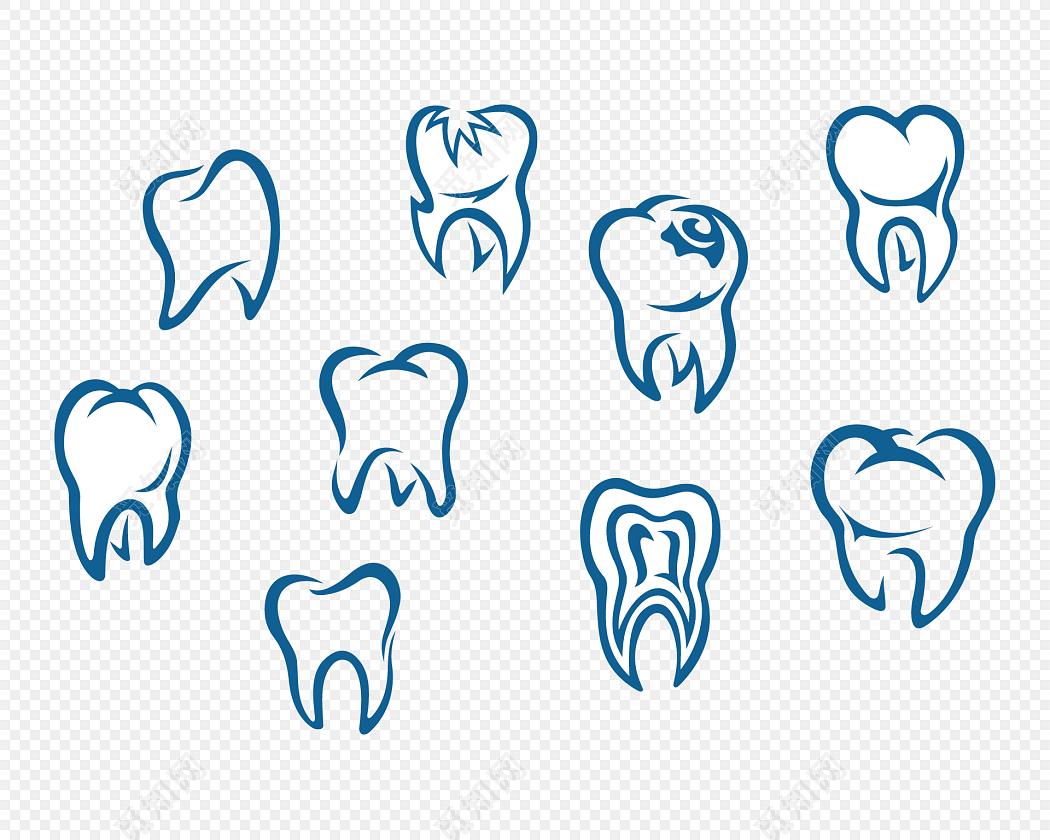 多样牙齿简笔画矢量图素材